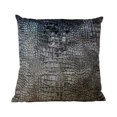 Kussen fluweel Croco grijs 45 x 45cm
