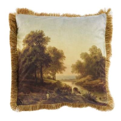 Kussen fluweel landschap  45 x 45 cm